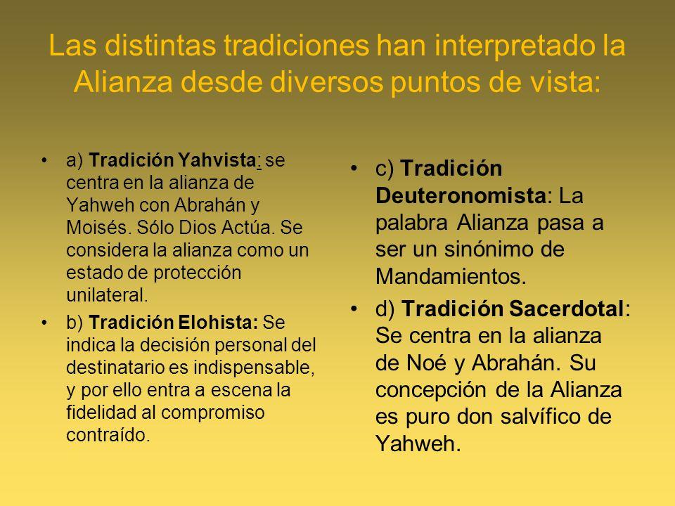 Las distintas tradiciones han interpretado la Alianza desde diversos puntos de vista:
