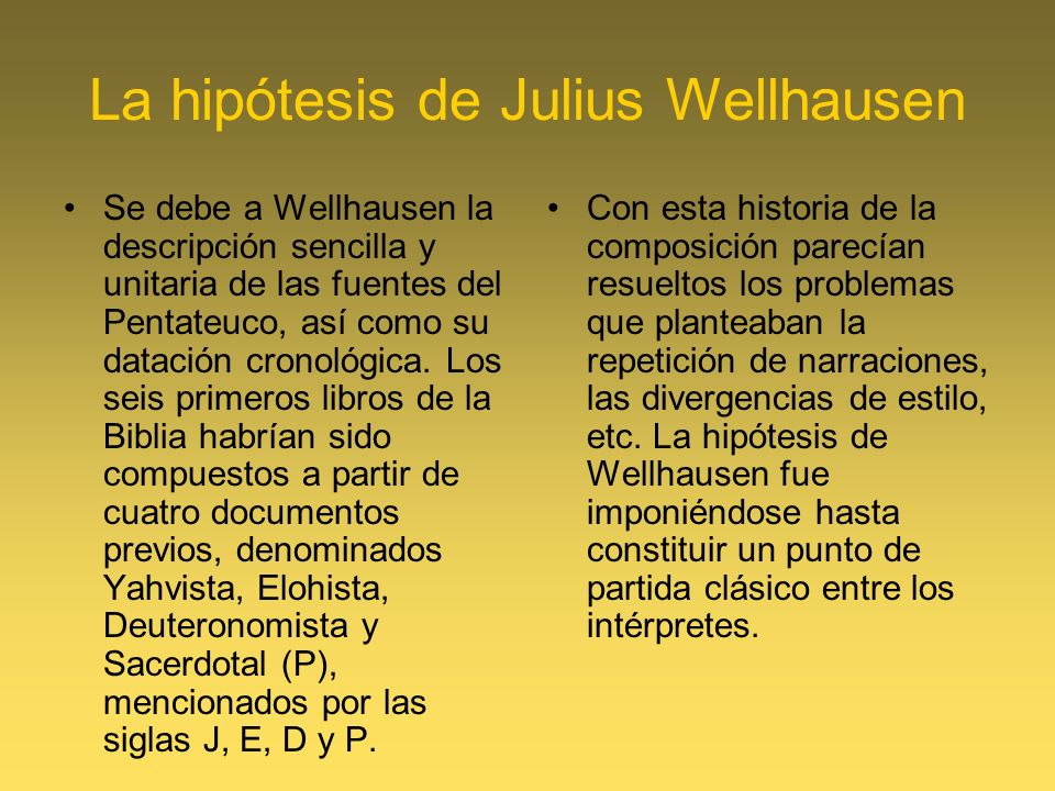 La hipótesis de Julius Wellhausen
