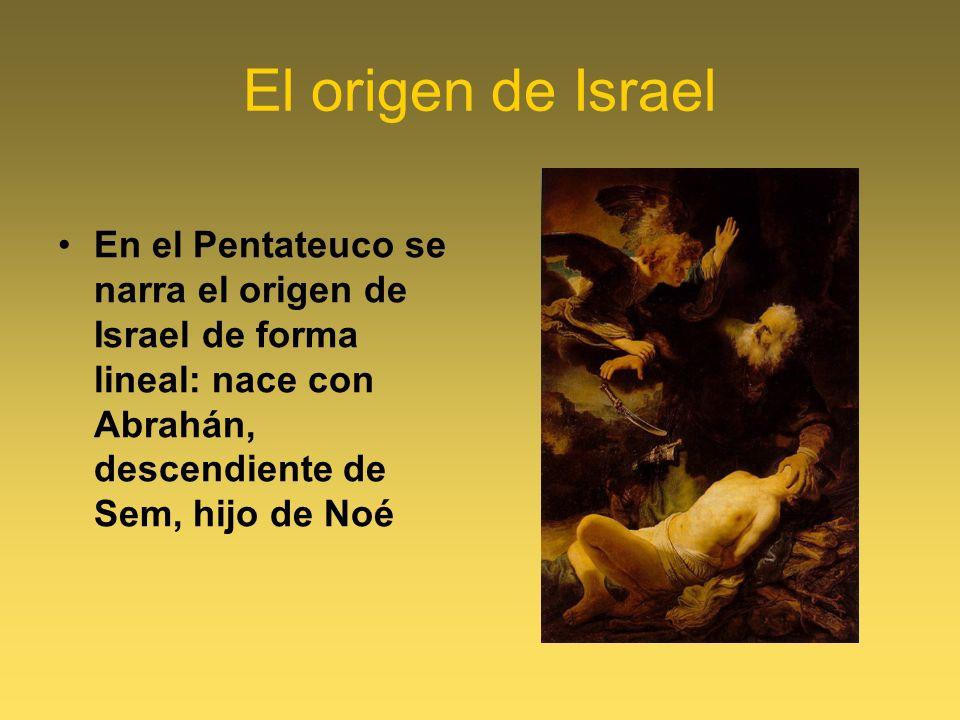 El origen de Israel En el Pentateuco se narra el origen de Israel de forma lineal: nace con Abrahán, descendiente de Sem, hijo de Noé.