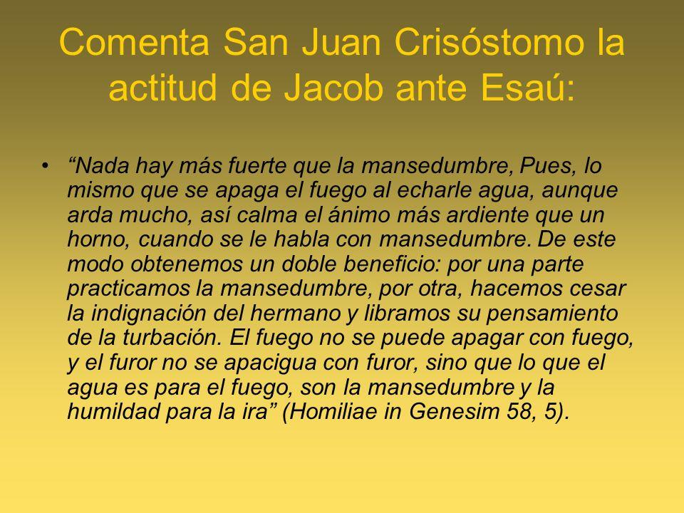 Comenta San Juan Crisóstomo la actitud de Jacob ante Esaú: