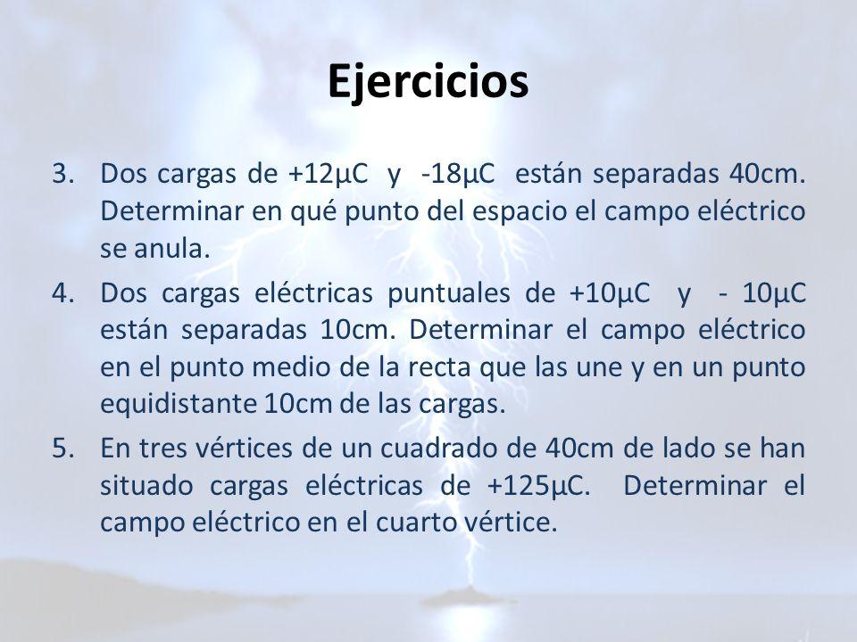 Ejercicios Dos cargas de +12μC y -18μC están separadas 40cm. Determinar en qué punto del espacio el campo eléctrico se anula.