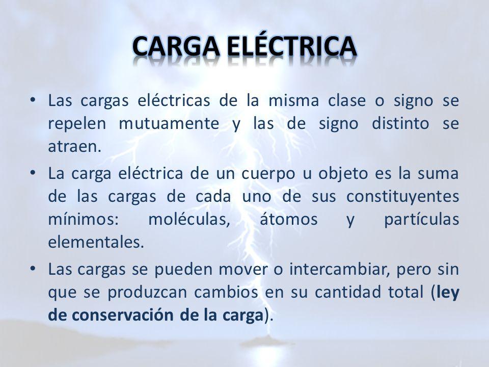 CARGA ELÉCTRICA Las cargas eléctricas de la misma clase o signo se repelen mutuamente y las de signo distinto se atraen.