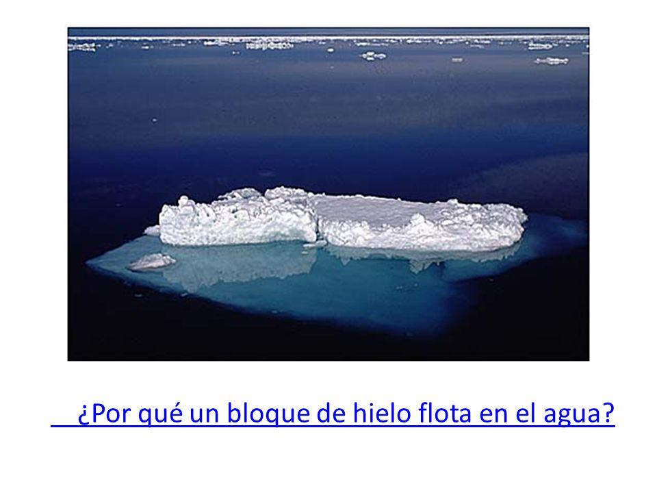 ¿Por qué un bloque de hielo flota en el agua