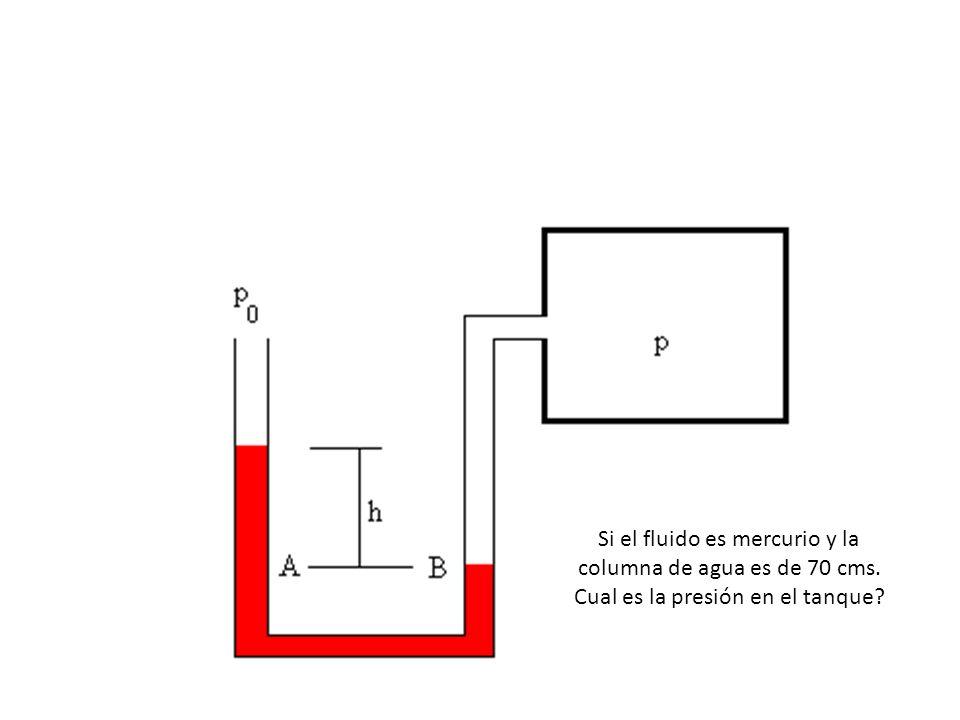 Si el fluido es mercurio y la columna de agua es de 70 cms