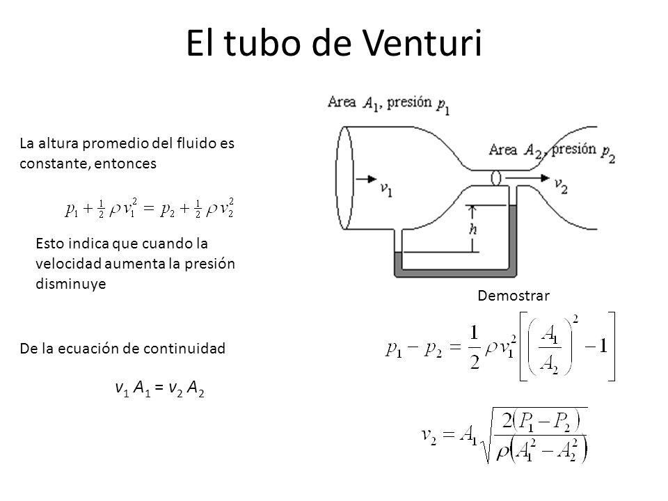 El tubo de Venturi v1 A1 = v2 A2