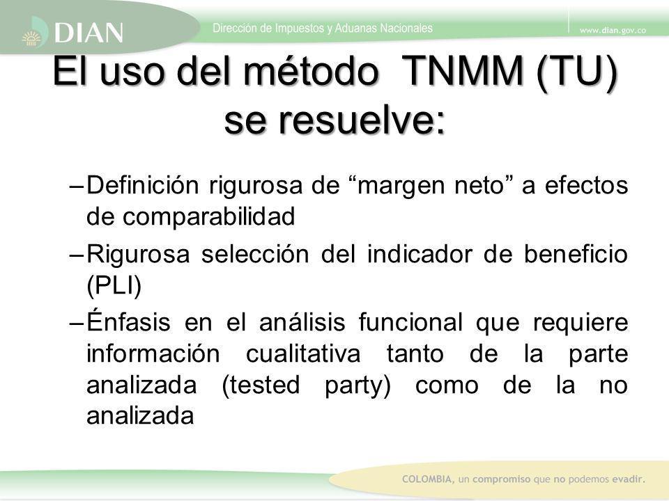 El uso del método TNMM (TU) se resuelve: