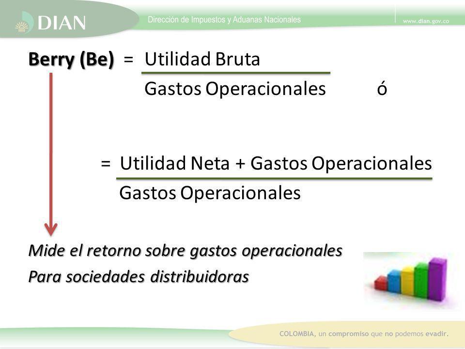 Berry (Be) = Utilidad Bruta Gastos Operacionales ó