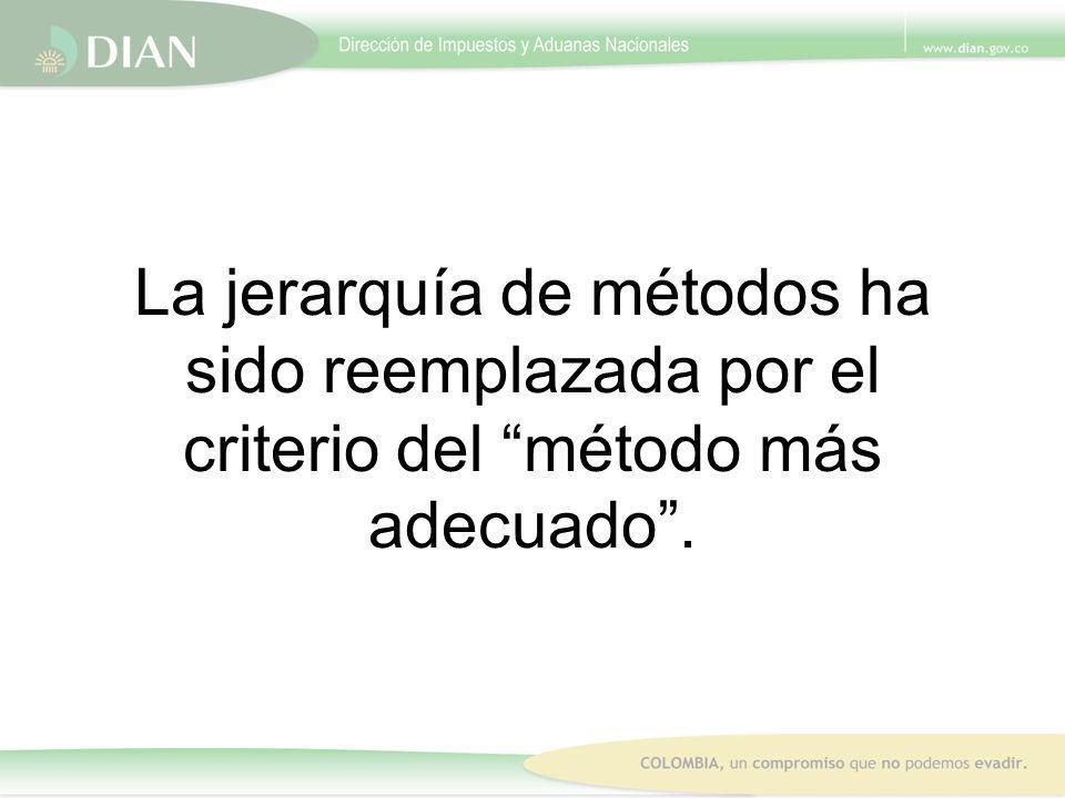 La jerarquía de métodos ha sido reemplazada por el criterio del método más adecuado .