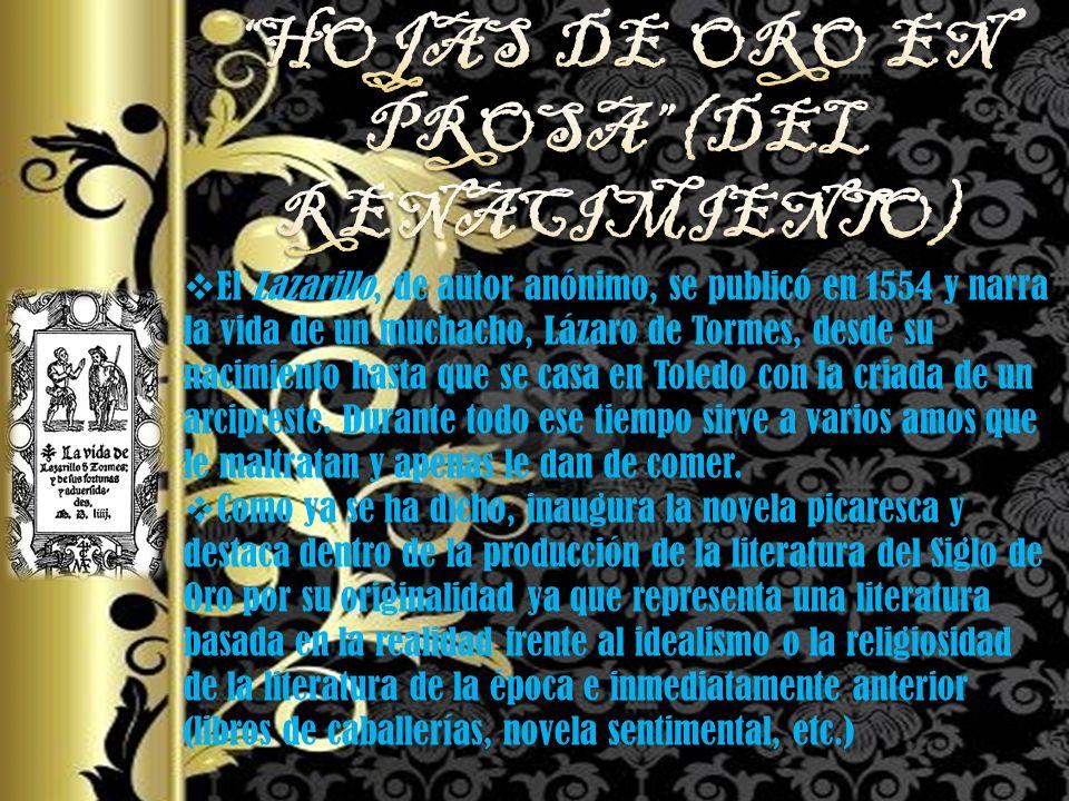 HOJAS DE ORO EN PROSA (DEL RENACIMIENTO)