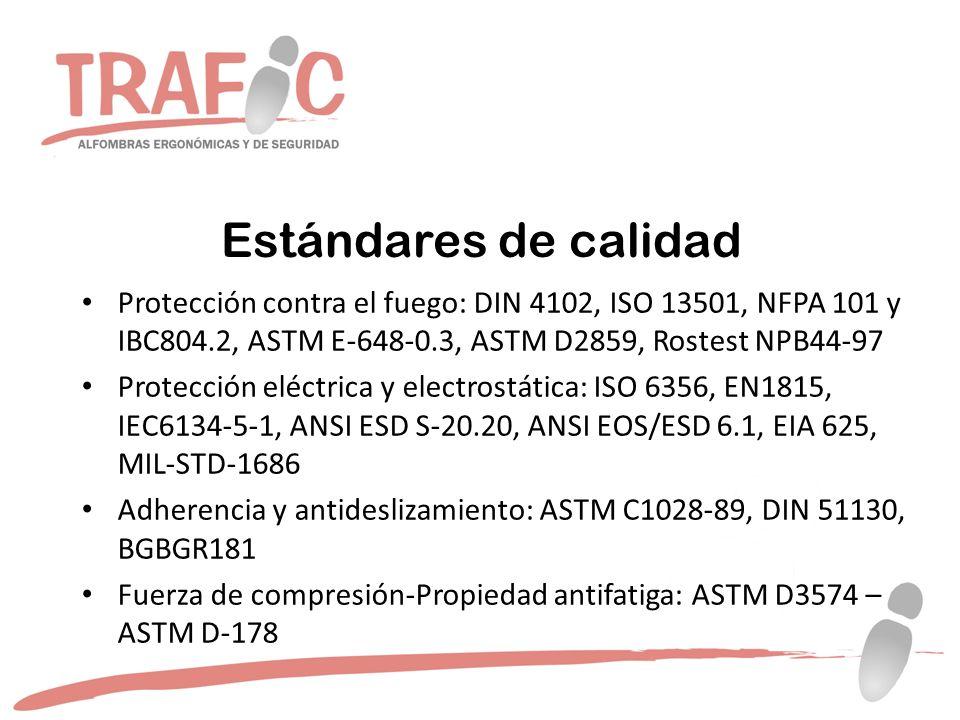 Estándares de calidad Protección contra el fuego: DIN 4102, ISO 13501, NFPA 101 y IBC804.2, ASTM E-648-0.3, ASTM D2859, Rostest NPB44-97.