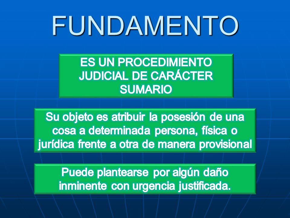 FUNDAMENTO ES UN PROCEDIMIENTO JUDICIAL DE CARÁCTER SUMARIO
