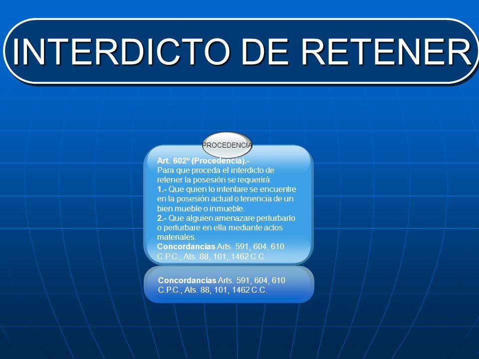 INTERDICTO DE RETENER Art. 602º (Procedencia).-