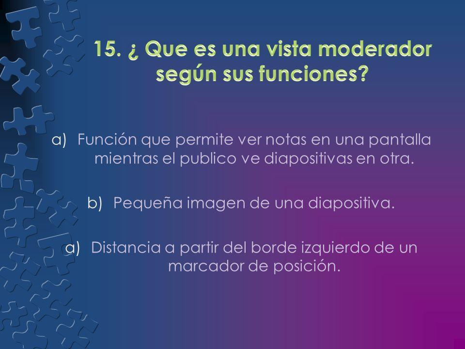 15. ¿ Que es una vista moderador según sus funciones