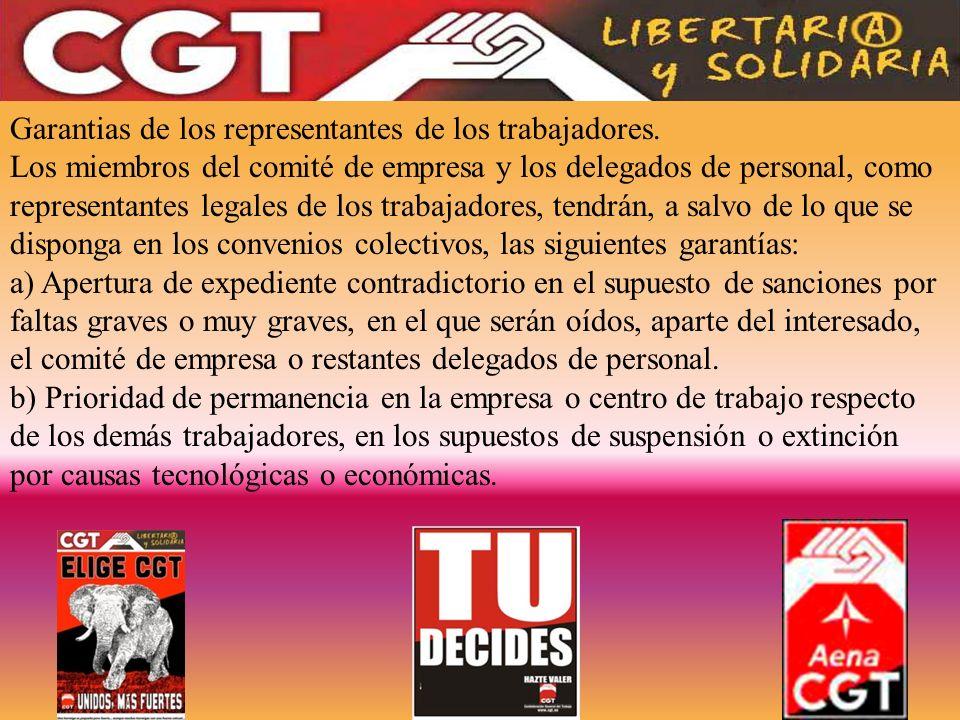 Garantias de los representantes de los trabajadores.