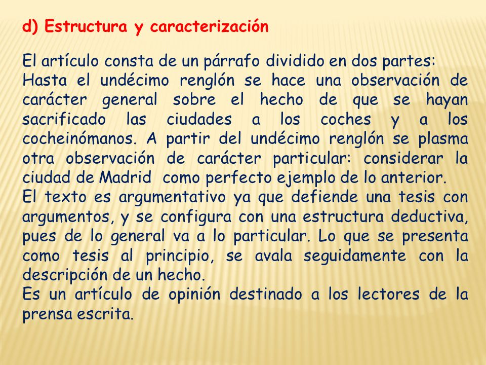 d) Estructura y caracterización