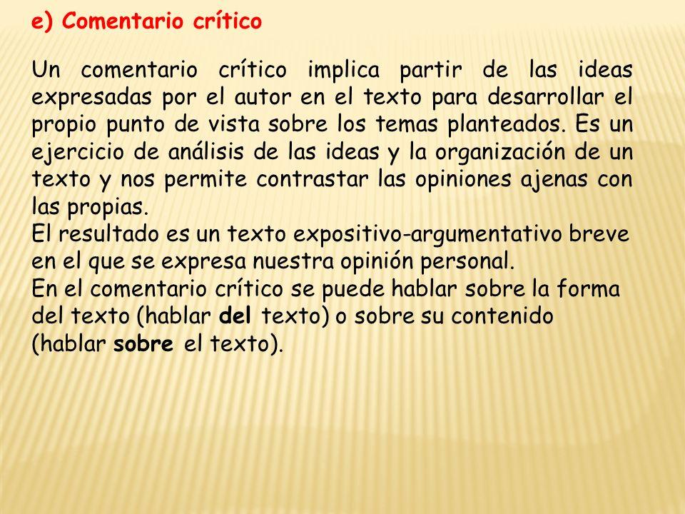 e) Comentario crítico