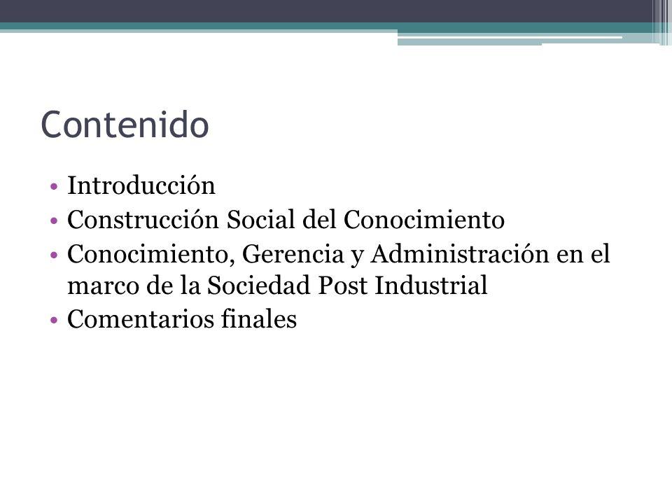 Contenido Introducción Construcción Social del Conocimiento