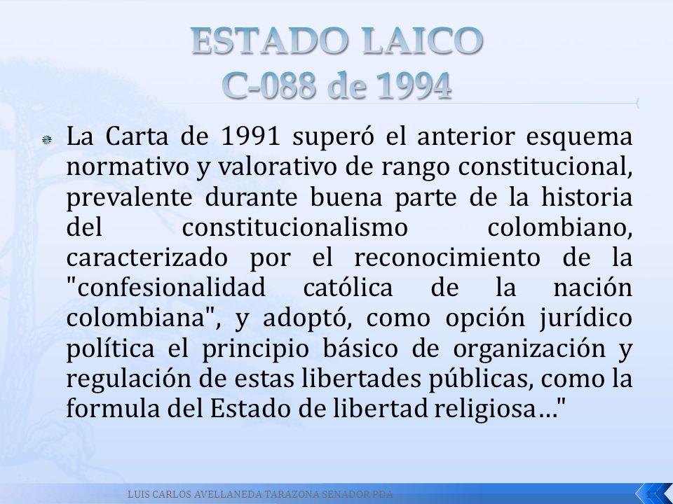 ESTADO LAICO C-088 de 1994