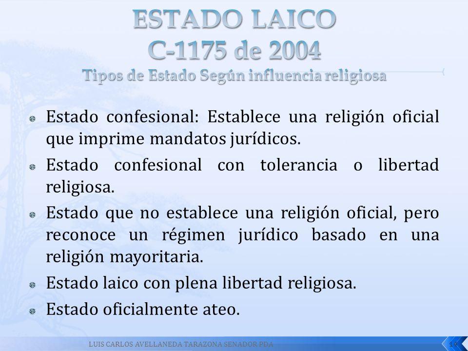 ESTADO LAICO C-1175 de 2004 Tipos de Estado Según influencia religiosa