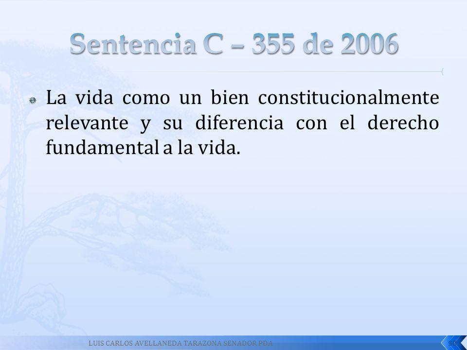 Sentencia C – 355 de 2006 La vida como un bien constitucionalmente relevante y su diferencia con el derecho fundamental a la vida.