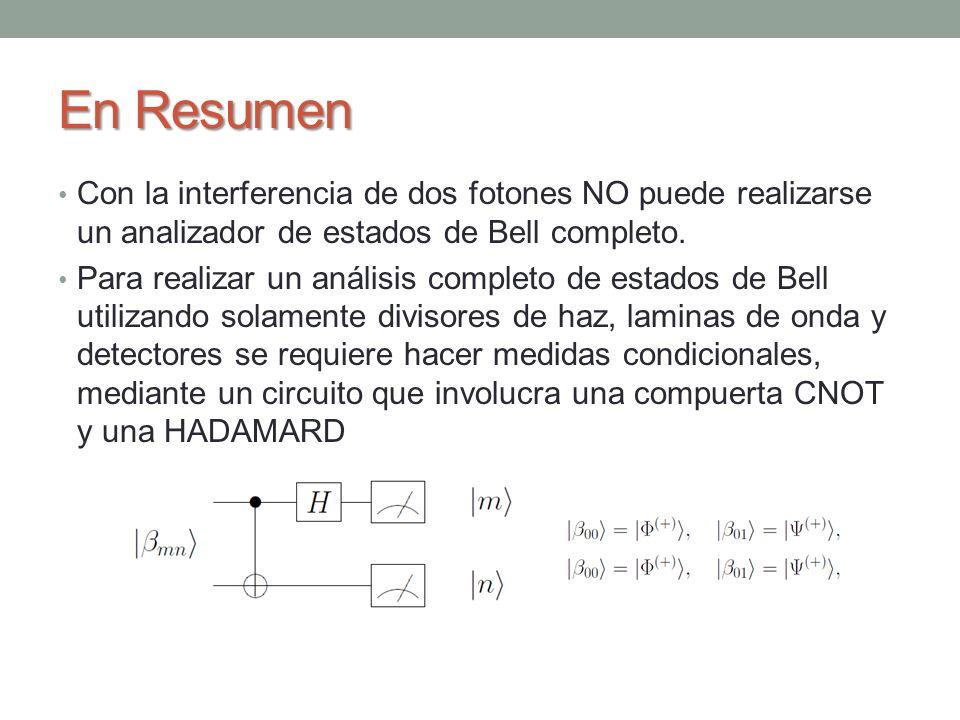 En Resumen Con la interferencia de dos fotones NO puede realizarse un analizador de estados de Bell completo.