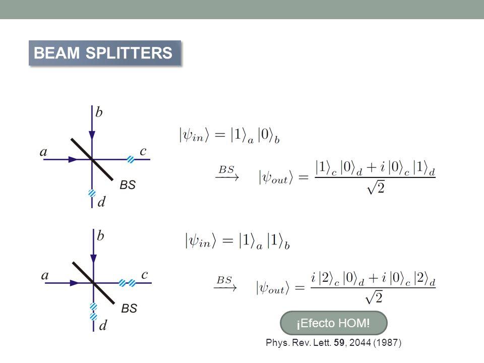 BEAM SPLITTERS ¡Efecto HOM! Phys. Rev. Lett. 59, 2044 (1987)