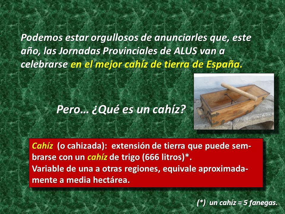 Podemos estar orgullosos de anunciarles que, este año, las Jornadas Provinciales de ALUS van a celebrarse en el mejor cahíz de tierra de España.