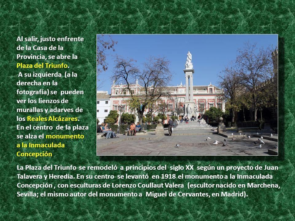 Al salir, justo enfrente de la Casa de la Provincia, se abre la Plaza del Triunfo.