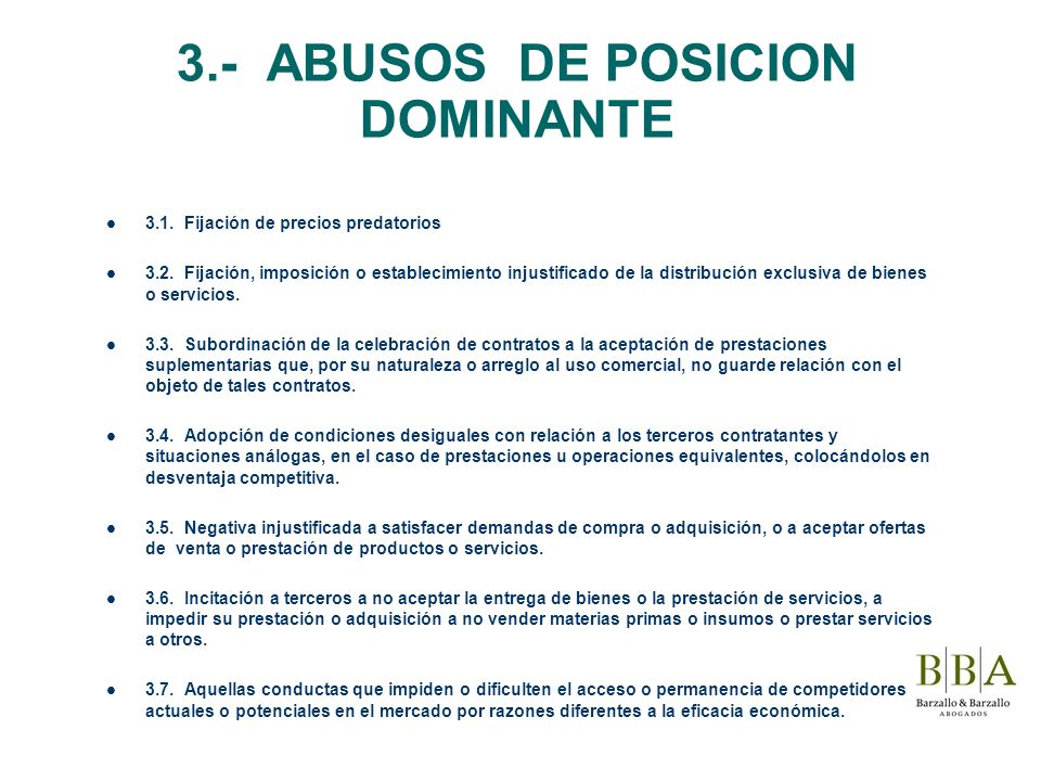 3.- ABUSOS DE POSICION DOMINANTE