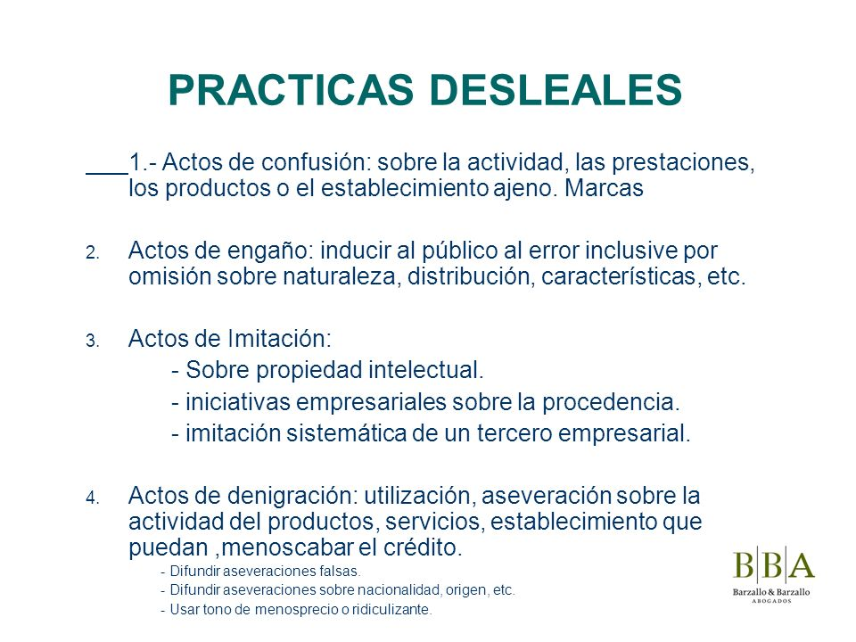PRACTICAS DESLEALES1.- Actos de confusión: sobre la actividad, las prestaciones, los productos o el establecimiento ajeno. Marcas.