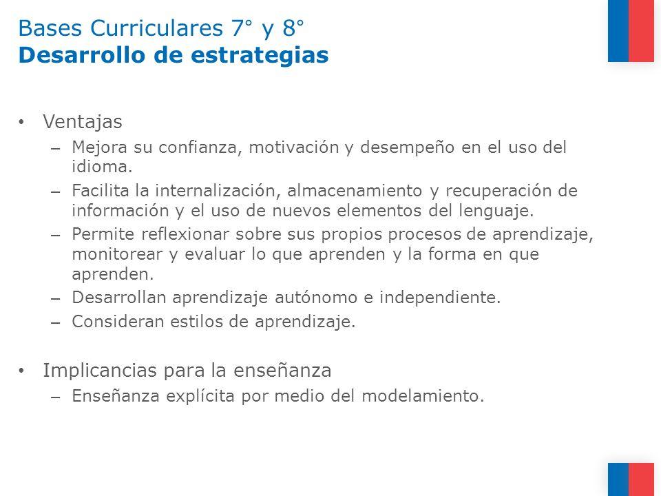 Bases Curriculares 7° y 8° Desarrollo de estrategias