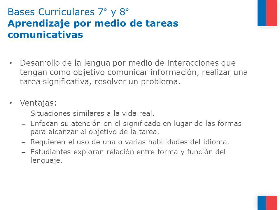 Bases Curriculares 7° y 8° Aprendizaje por medio de tareas comunicativas