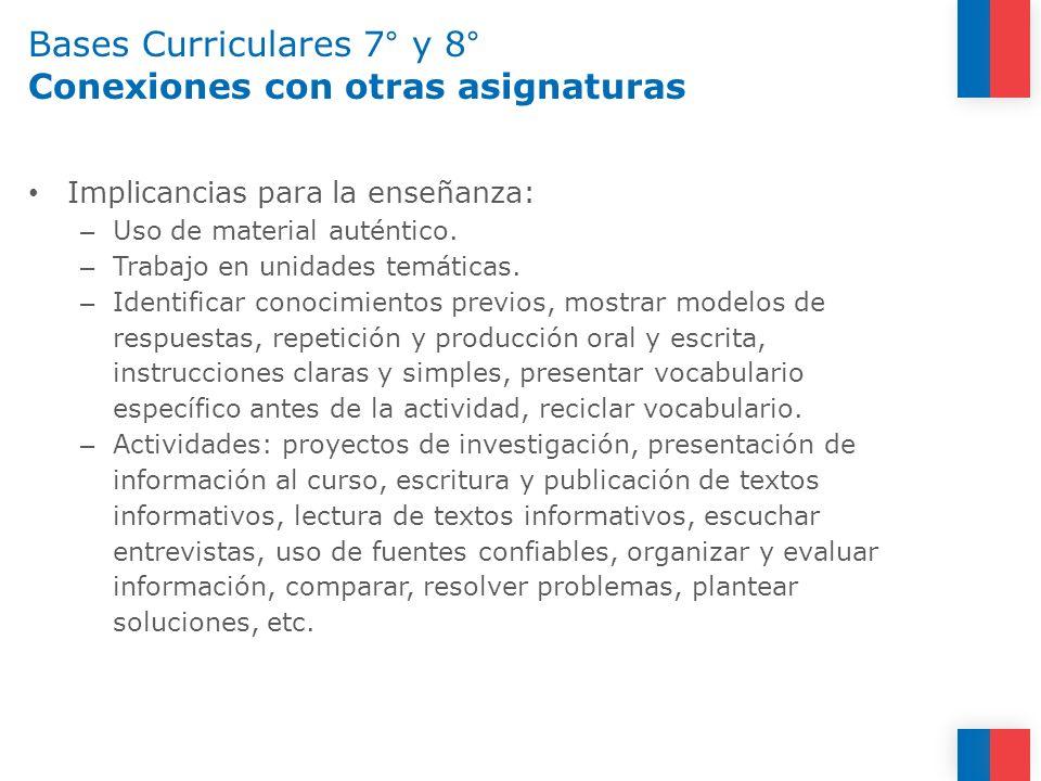 Bases Curriculares 7° y 8° Conexiones con otras asignaturas