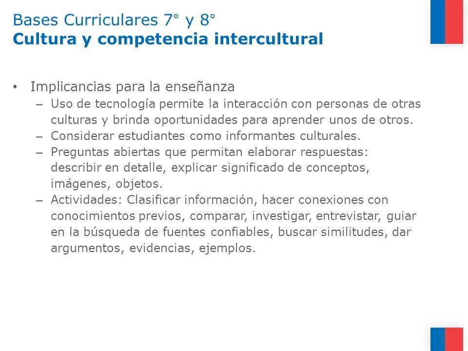 Bases Curriculares 7° y 8° Cultura y competencia intercultural