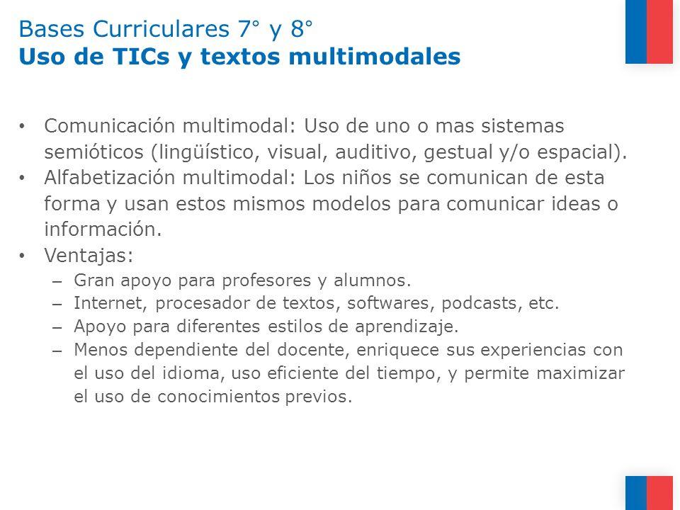 Bases Curriculares 7° y 8° Uso de TICs y textos multimodales