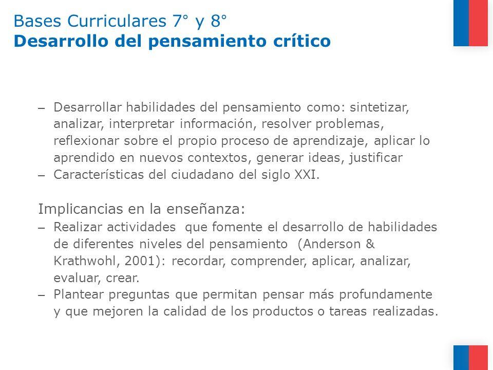 Bases Curriculares 7° y 8° Desarrollo del pensamiento crítico