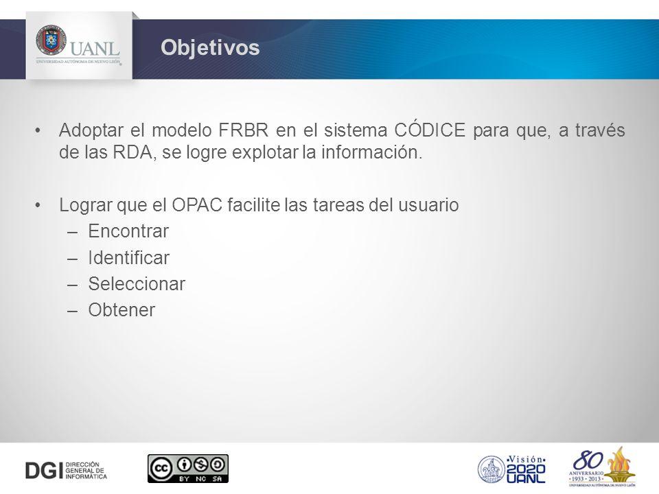 Objetivos Adoptar el modelo FRBR en el sistema CÓDICE para que, a través de las RDA, se logre explotar la información.
