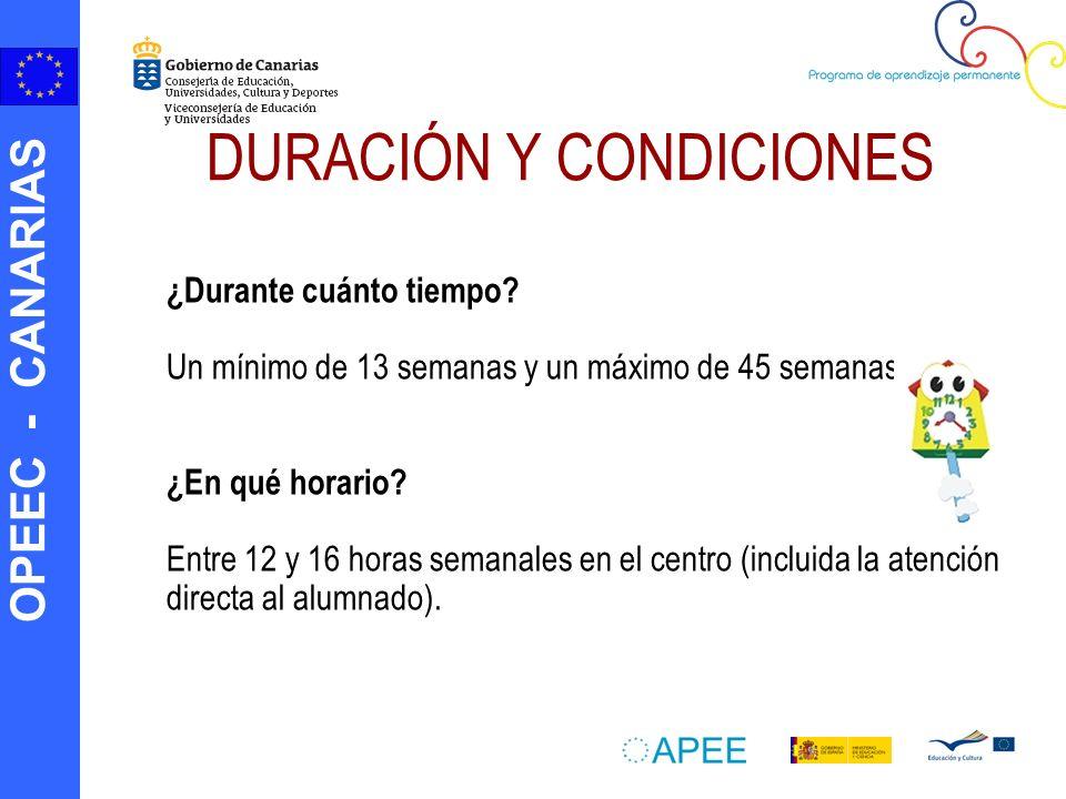 DURACIÓN Y CONDICIONES