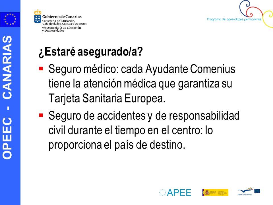 ¿Estaré asegurado/a Seguro médico: cada Ayudante Comenius tiene la atención médica que garantiza su Tarjeta Sanitaria Europea.