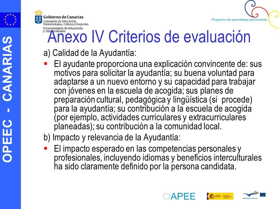 Anexo IV Criterios de evaluación