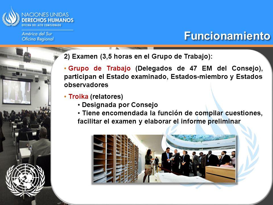 Funcionamiento 2) Examen (3,5 horas en el Grupo de Trabajo):