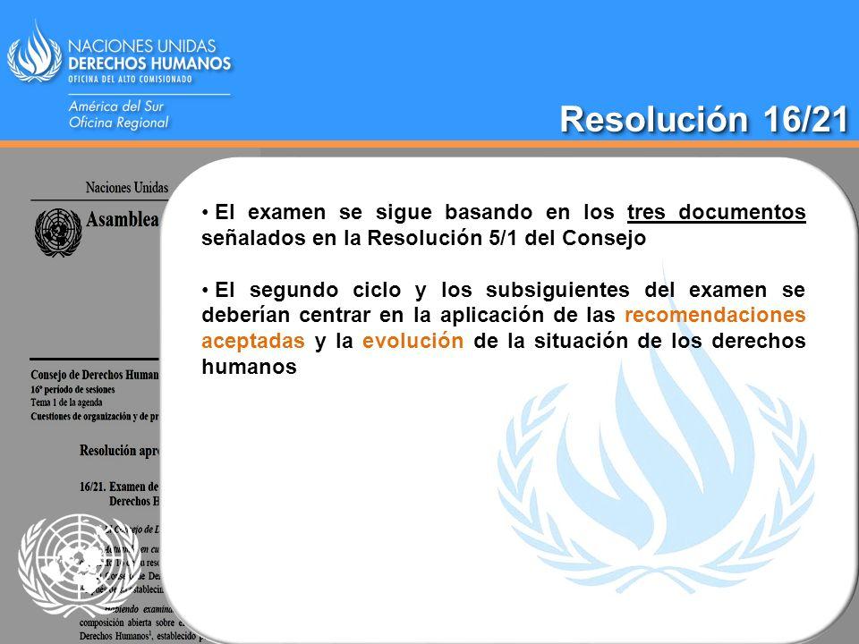 Resolución 16/21 El examen se sigue basando en los tres documentos señalados en la Resolución 5/1 del Consejo.