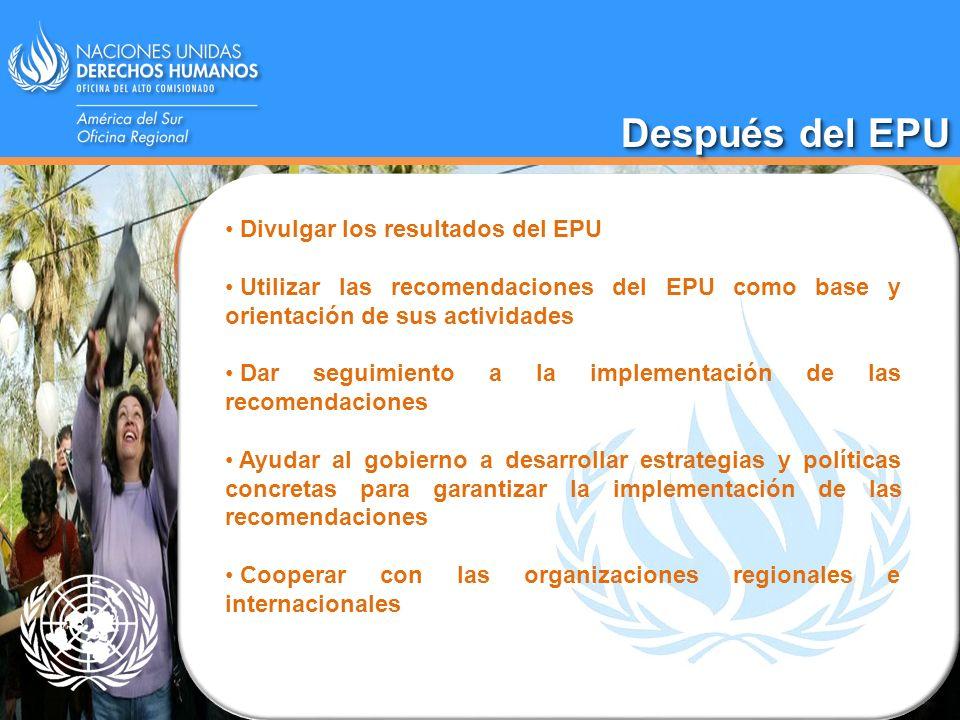 Después del EPU Divulgar los resultados del EPU