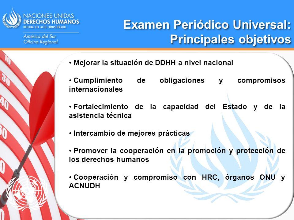 Examen Periódico Universal: Principales objetivos