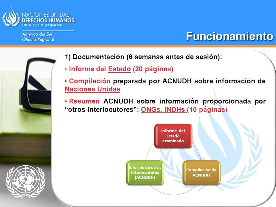 Informe del Estado examinado Informe de otros interlocutores (ACNUDH)