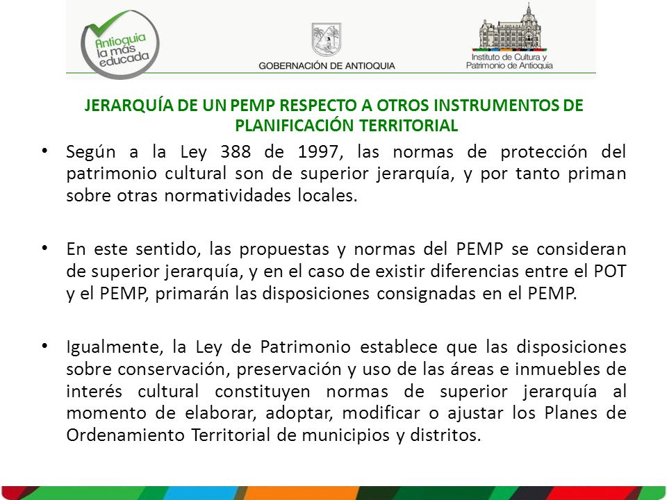 JERARQUÍA DE UN PEMP RESPECTO A OTROS INSTRUMENTOS DE PLANIFICACIÓN TERRITORIAL