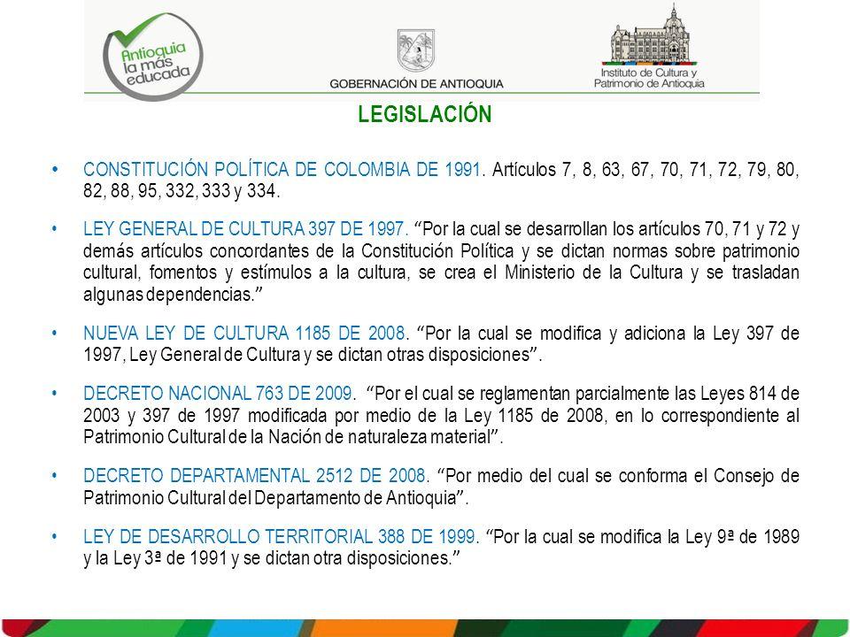 LEGISLACIÓN CONSTITUCIÓN POLÍTICA DE COLOMBIA DE 1991. Artículos 7, 8, 63, 67, 70, 71, 72, 79, 80, 82, 88, 95, 332, 333 y 334.