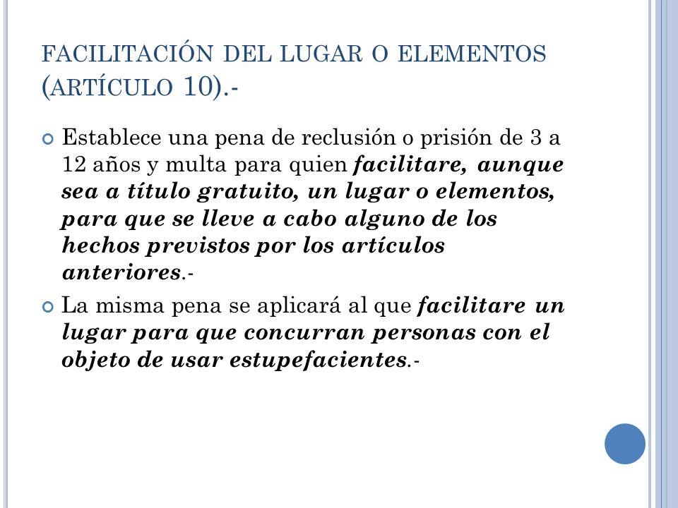 facilitación del lugar o elementos (artículo 10).-