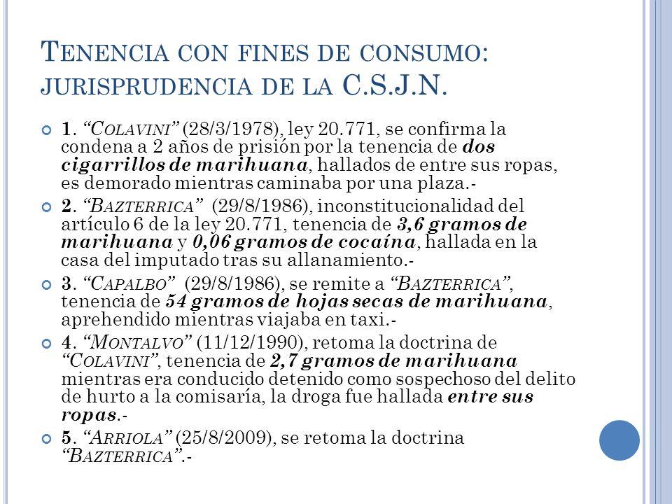 Tenencia con fines de consumo: jurisprudencia de la C.S.J.N.