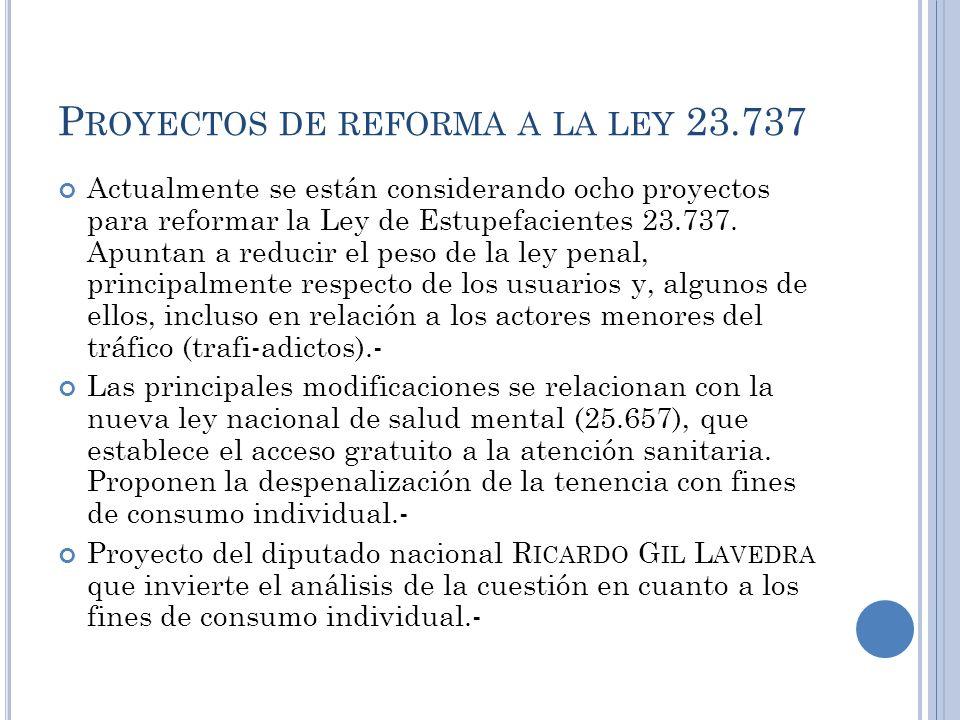 Proyectos de reforma a la ley 23.737